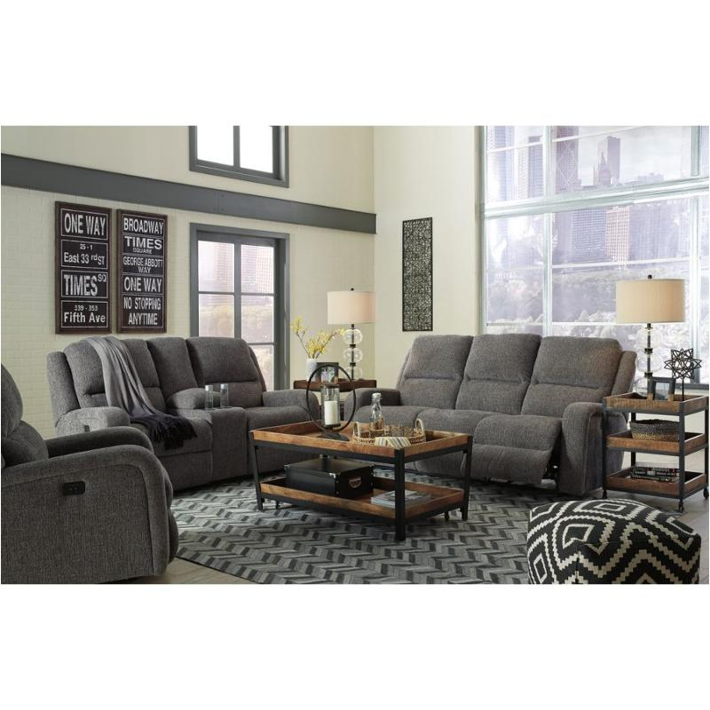 Phenomenal 7810215 Ashley Furniture Krismen Charcoal Power Recliner Sofa With Adjusted Headrest Home Interior And Landscaping Mentranervesignezvosmurscom