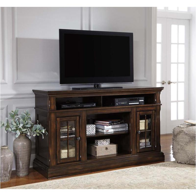 W701 58 Ashley Furniture Roddinton   Dark Brown Home Entertainment Tv  Console