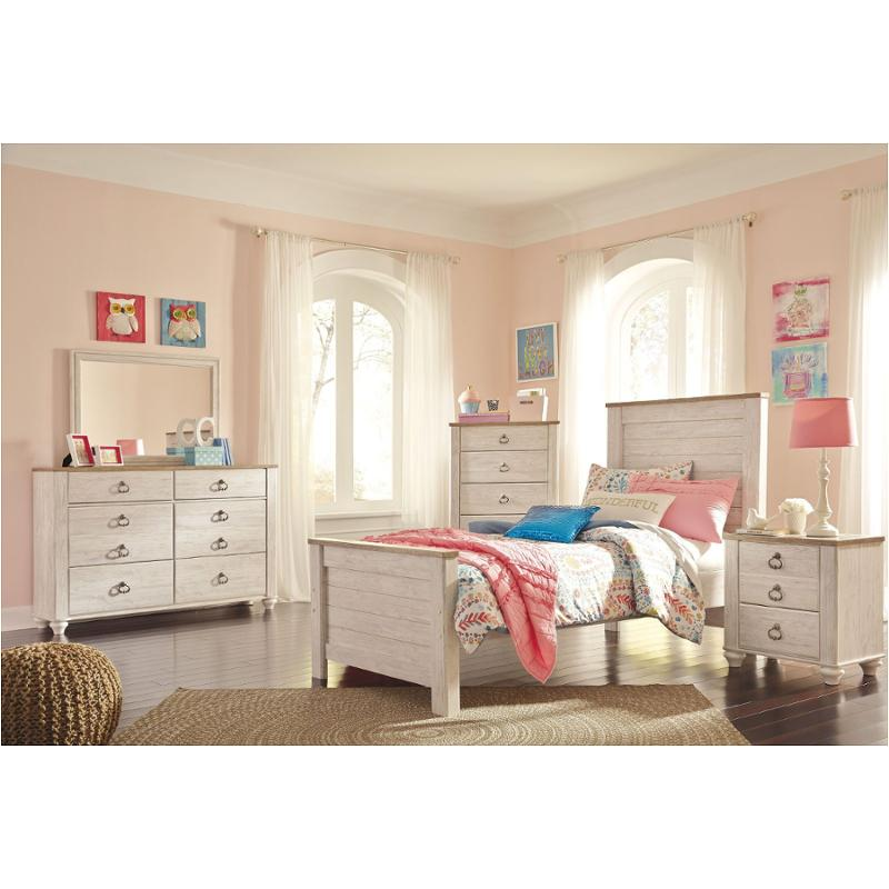 B267 53 Ashley Furniture Willowton Whitewash Twin Panel Bed
