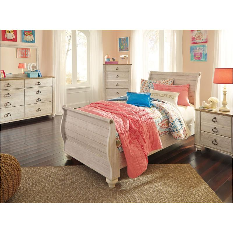 B267 63 Ashley Furniture Willowton Whitewash Twin Sleigh Bed