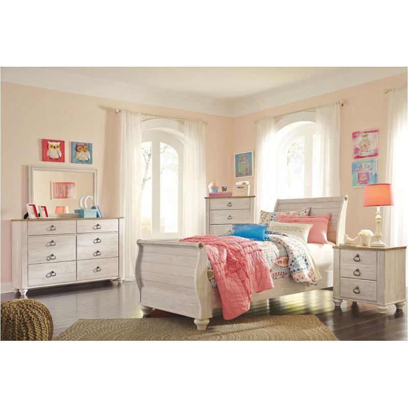 B267-72 Ashley Furniture Willowton - Whitewash Full Sleigh Bed