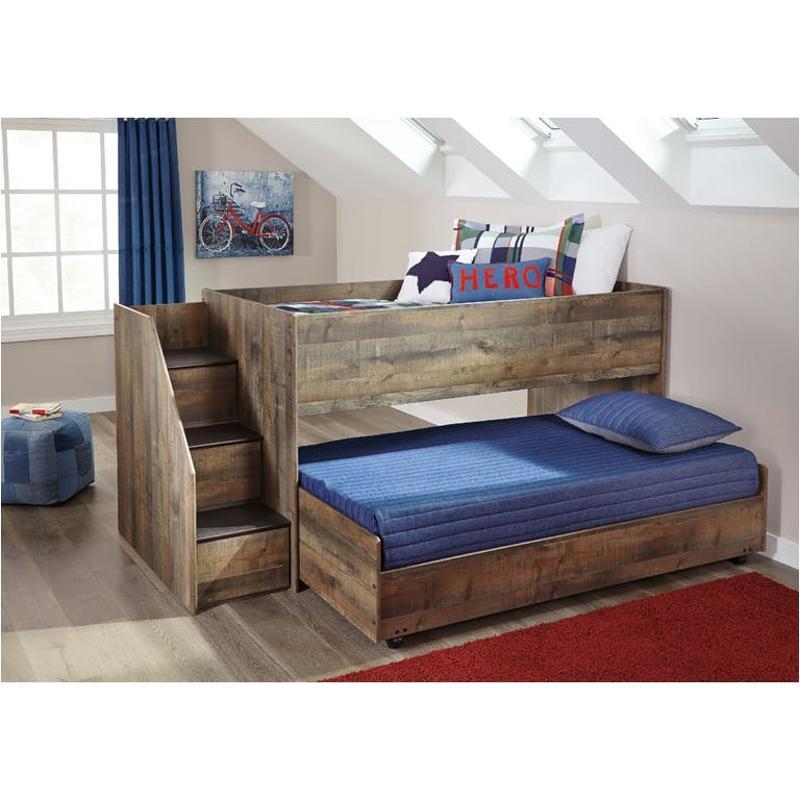 B446 68b Ashley Furniture Trinell Brown Twin Loft Caster Bed