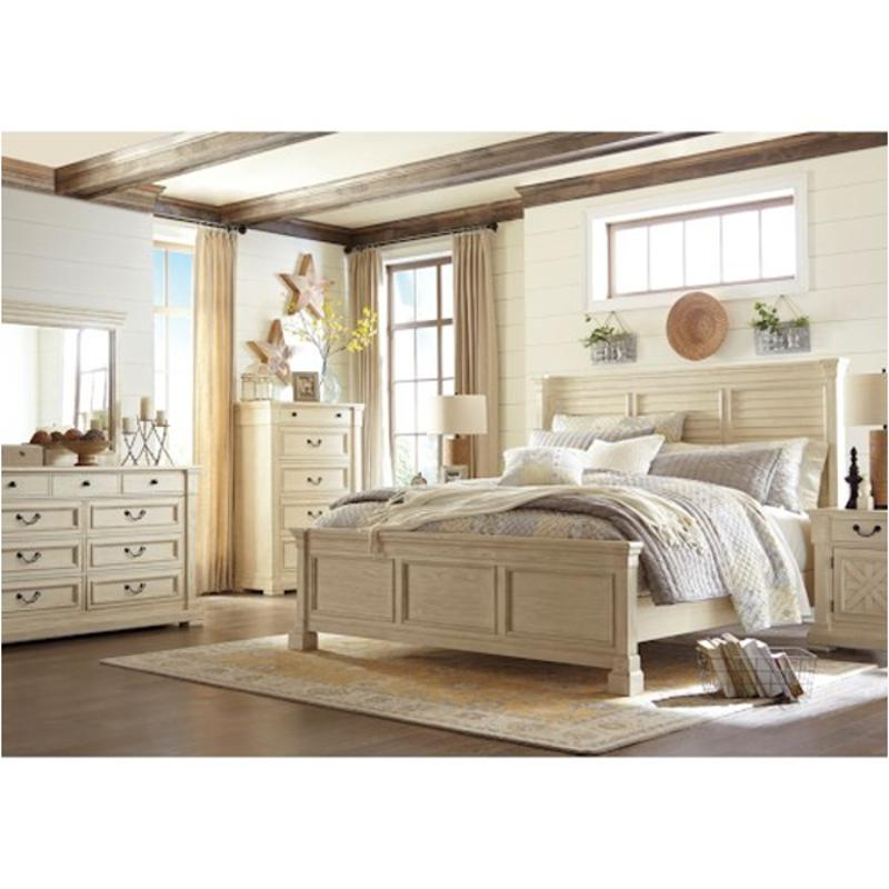 B647 77 Ashley Furniture Bolanburg Bedroom Queen Louvered Bed
