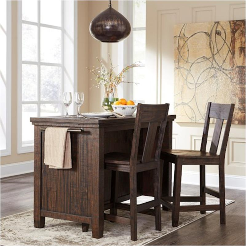 D658-65 Ashley Furniture Trudell - Dark Brown Rectangular Counter Table  With Storage