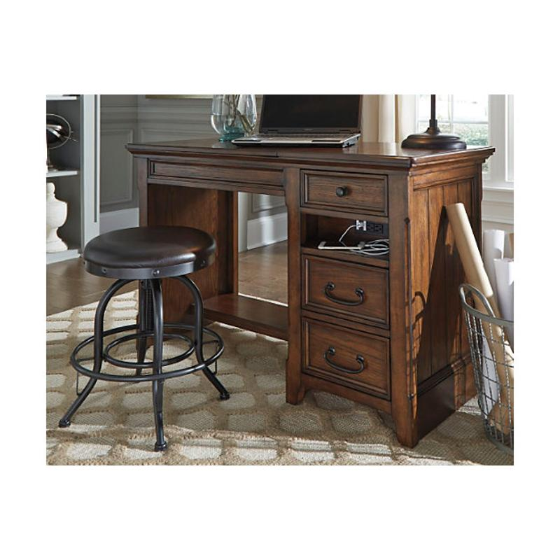 H478 48 Ashley Furniture Woodboro   Brown Home Office Desk
