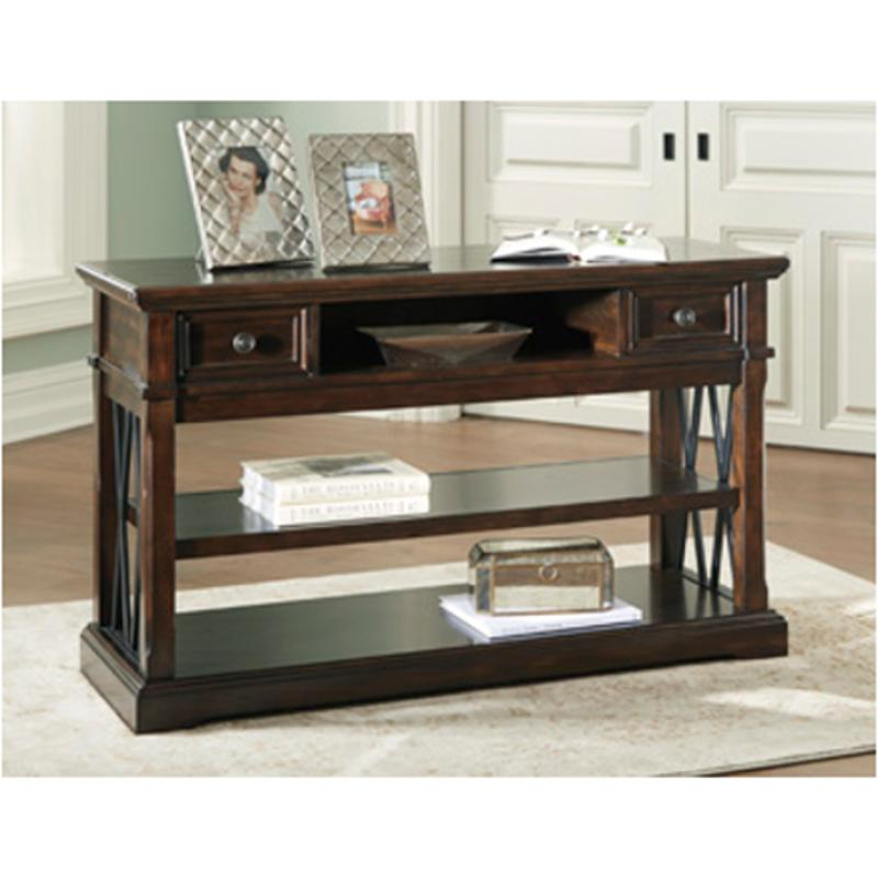T701-4 Ashley Furniture Roddinton - Dark Brown Sofa Table