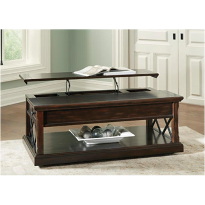 T701-9 Ashley Furniture Roddinton - Dark Brown Lift Top Cocktail Table  sc 1 st  Home Living Furniture : dark brown coffee table set - pezcame.com