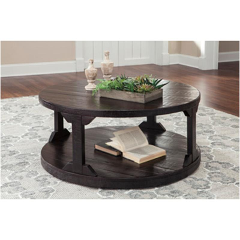 T745 8 Ashley Furniture Rogness Rustic Brown Round Tail Table