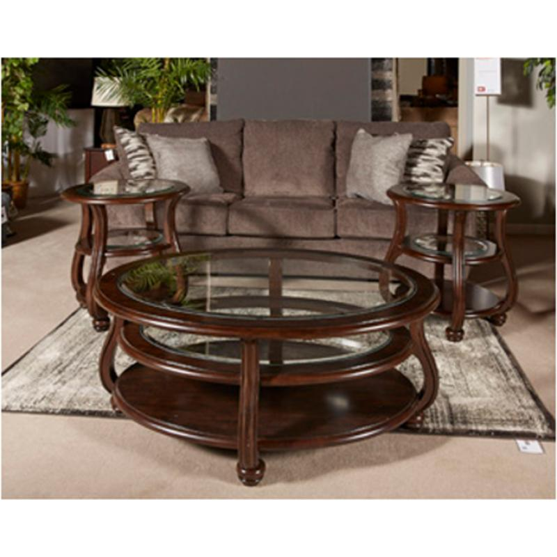 T819 6 ashley furniture yexenburg living room round end table for Living room furniture 0 finance