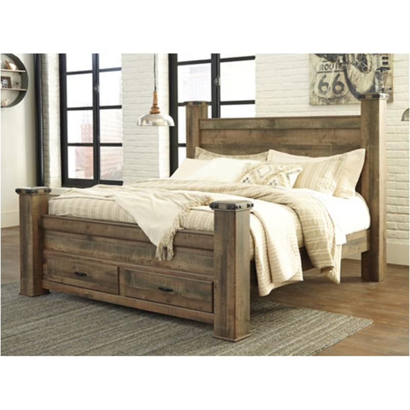 B446 61 Ashley Furniture Trinell Brown Queenking Poster Bed Post