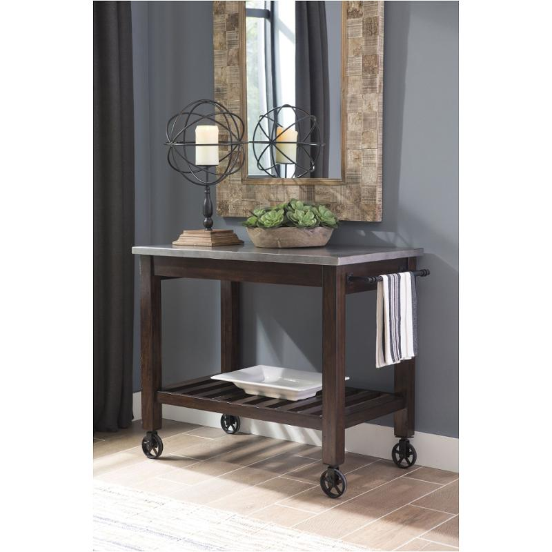 D442 66 Ashley Furniture Larchmont   Burnished Dark Brown Dining Room Cart