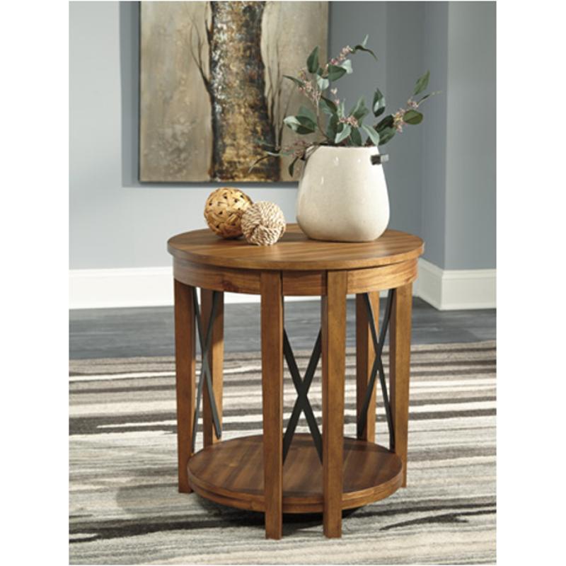 T Ashley Furniture Emilander Living Room Round End Table - Ashley furniture coffee table with stools
