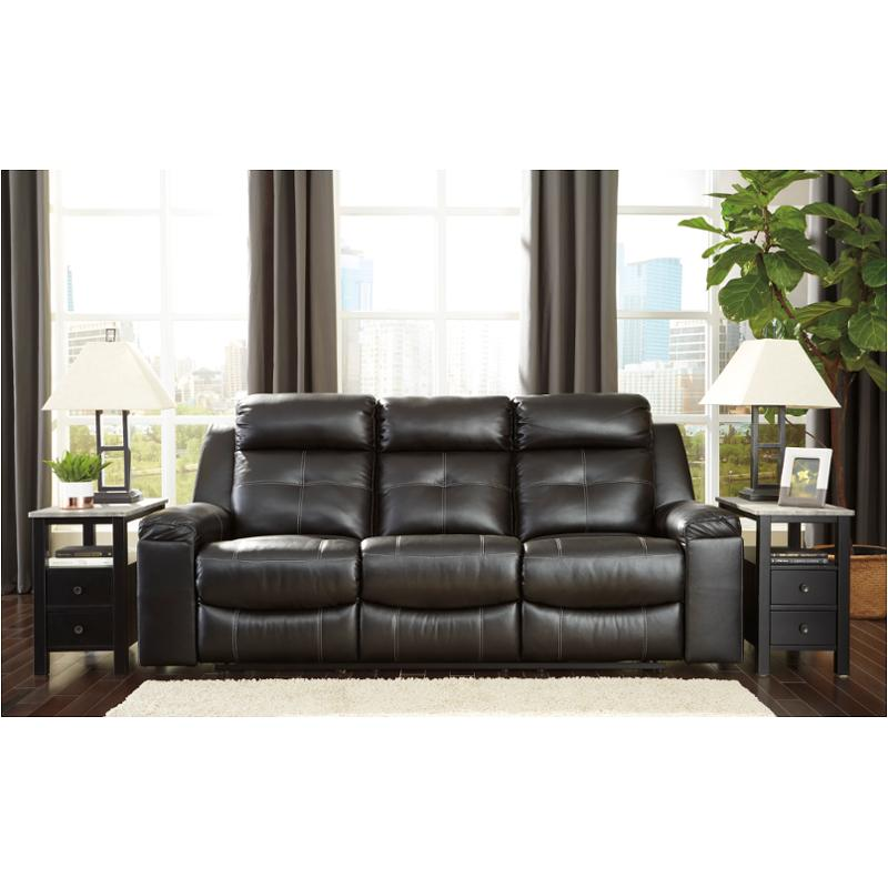 8210588 Ashley Furniture Kempten - Black Reclining Sofa