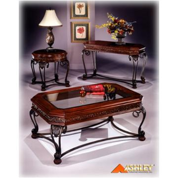 T396 4 Ashley Furniture Sofa Table Chry Stain Finish Metal